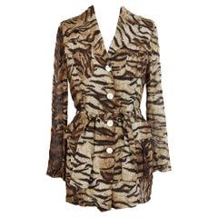 Mimmina Beige Brown Viscose Animalier Shirt Dress
