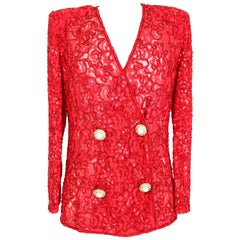 Mimmina Red Lace Sequins Beads Evening Jacket 1980s