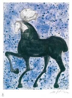Horse and Knight - Original Etching by Mimmo Paladino - 2008