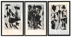 Triptych of Three Monumental Etchings by Mimmo Paladino