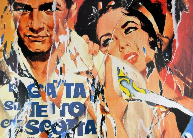 MIMMO ROTELLA Decollage Hand signed - Hollywood Liz Taylor & Paul Newman Pop Art - Print by Mimmo Rotella