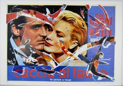 MIMMO ROTELLA Decollage Hand signed - Cary Grant & Grace Kelly To Catch a Thief