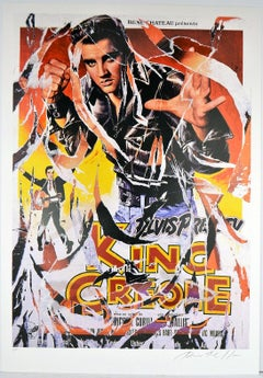 MIMMO ROTELLA Decollage Hand signed Hollywood Elvis Presley King Creole Pop Art