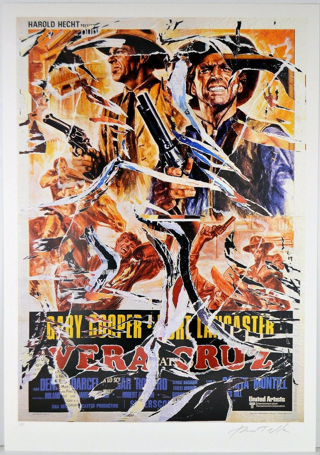 MIMMO ROTELLA Decollage Hand signed Hollywood Gary Cooper Burt Lancaster Pop Art