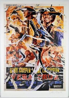 MIMMO ROTELLA Decollage Hand signed Hollywood Gary Cooper Burt Lancaster Pop Art