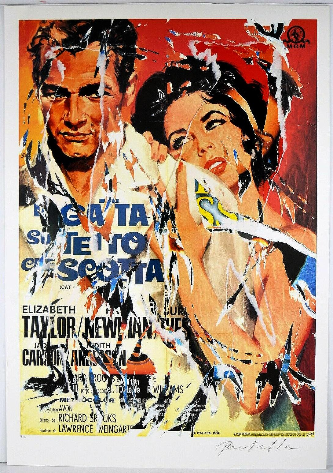 MIMMO ROTELLA Decollage Hand signed - Hollywood Liz Taylor & Paul Newman Pop Art