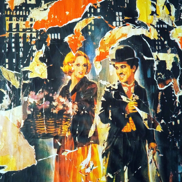 Mimmo Rotella The Lights of the City Slashed Silk-screen Print on Canvas For Sale 1