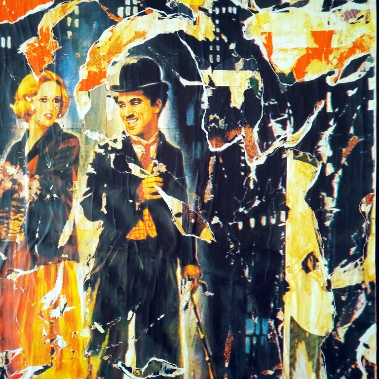 Mimmo Rotella The Lights of the City Slashed Silk-screen Print on Canvas For Sale 2