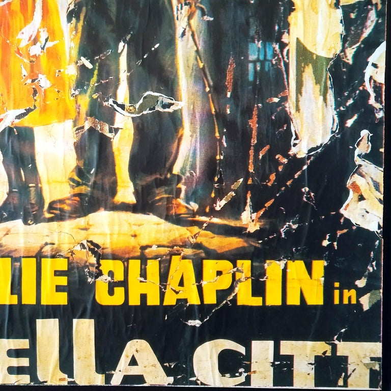 Mimmo Rotella The Lights of the City Slashed Silk-screen Print on Canvas For Sale 3