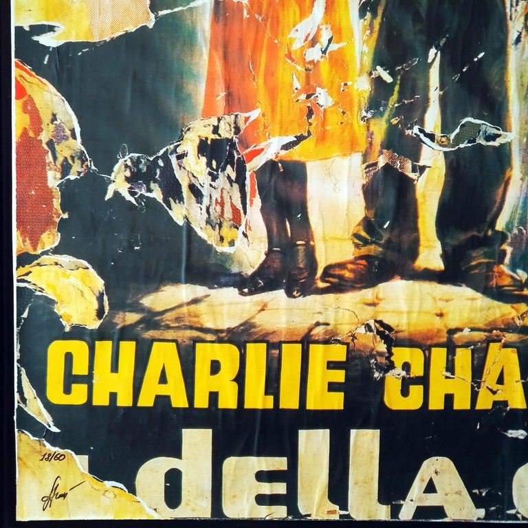 Mimmo Rotella The Lights of the City Slashed Silk-screen Print on Canvas For Sale 4