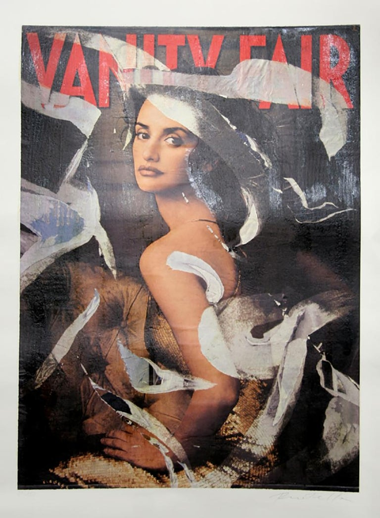 Artist: Mimmo Rotella Title: Vanity Fair (Penelope Cruz) Year: 2003 Medium: Serigraph with Collage, signed and numbered in pencil  Edition: 29/150 Size: 47  x 31.5 in. (119.38  x 80.01 cm)
