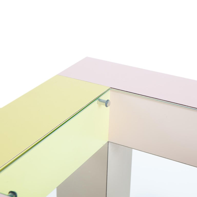 Modern Mimosa End Table with Glass Top, by Ettore Sottsass from Memphis Milano For Sale
