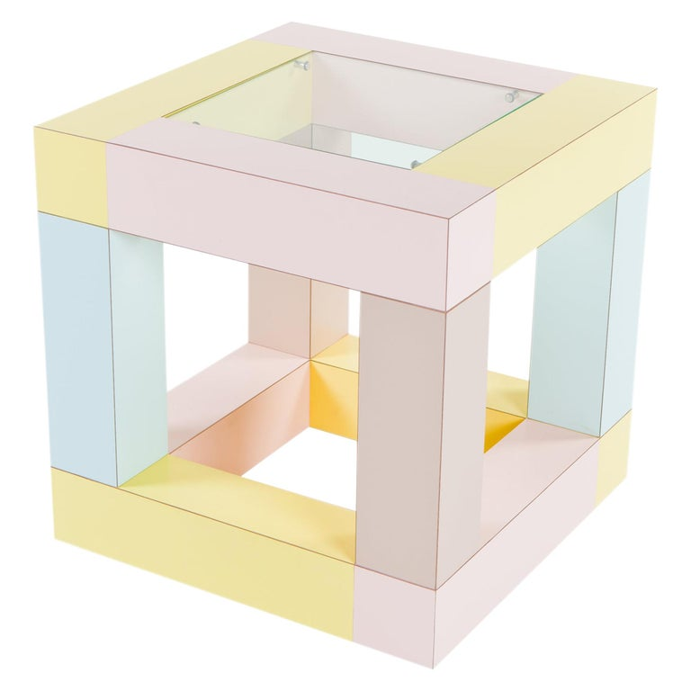 Mimosa End Table with Glass Top, by Ettore Sottsass from Memphis Milano For Sale