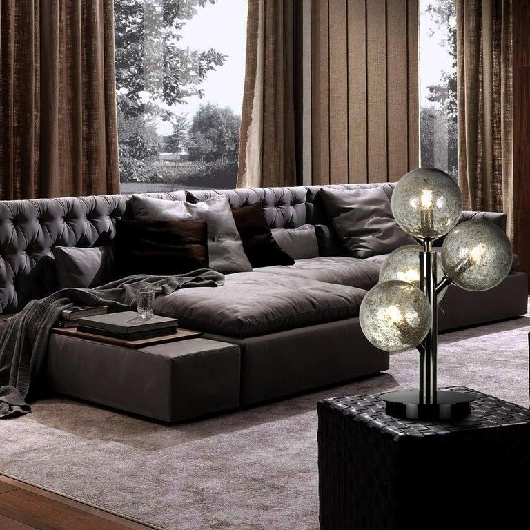 Italian Mimosa 4 Light Satin Brass Table Lamp For Sale
