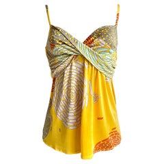 Mimosa yellow printed silk jersey Cami Slip MILLI top - NWT Flora Kung