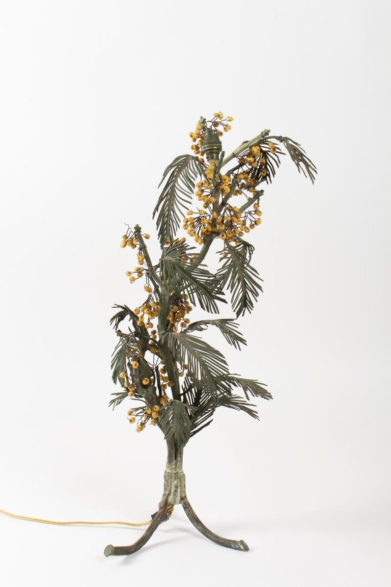 Early 20th Century Mimosas Table Lamp in Painted Metal and Glass Mimosa Balls, Art Nouveau, 1900 For Sale