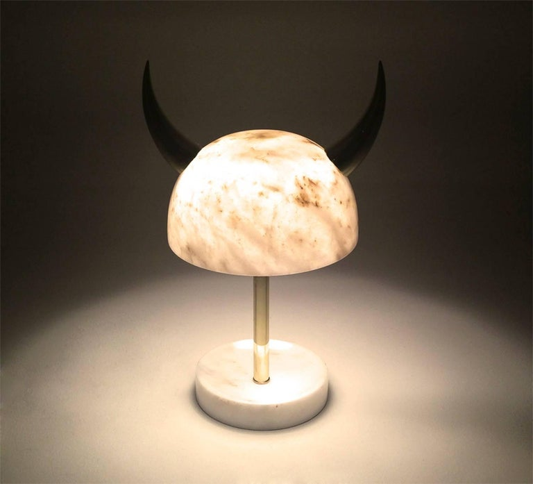 Turkish Min Lilla Viking Afyon Marble Table Lamp with Polished Brass Horns For Sale