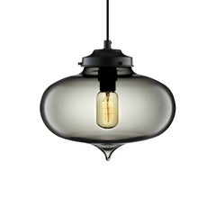 Minaret Gray Handblown Modern Glass Pendant Light, Made in the USA