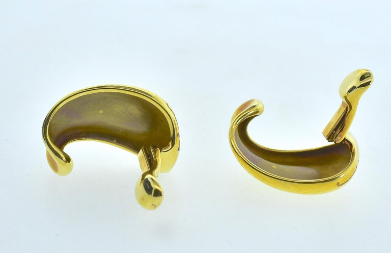 Women's or Men's Minas 18 Karat Gold Earrings For Sale