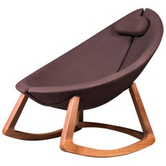 Minas, Contemporary Oval Shaped Rocking Chair in Wool with Walnut Frame