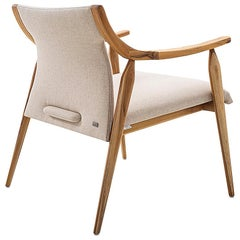 Mince Armchair Featuring Curved Arms, Spindle Legs & Oatmeal Linen Fabric