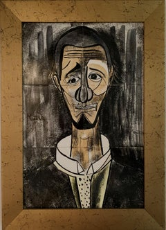 Ceramic Tile Portrait of a Man, Mid-Century Modern Cubist Japanese Artist