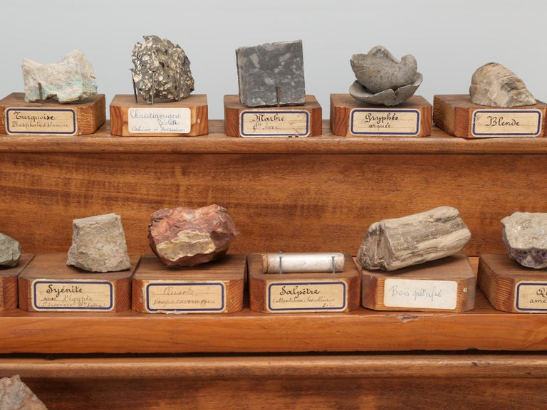 French Mineral Specimen Collection, from a circa 1891 School in France For Sale