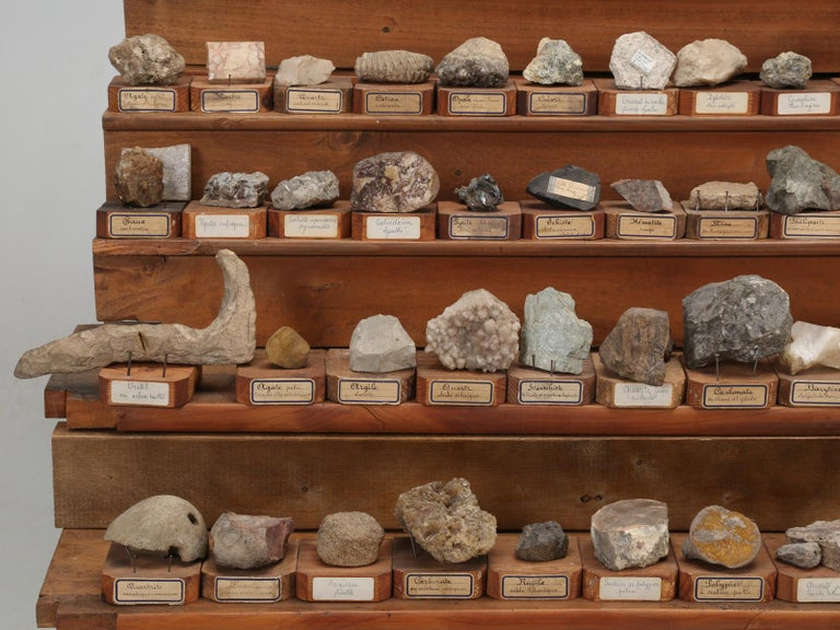 Stone Mineral Specimen Collection, from a circa 1891 School in France For Sale