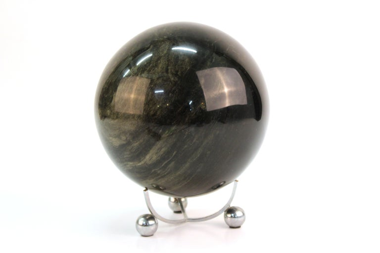 Mineral specimen sphere displayed on a tripod Art Deco stand. The piece is in great vintage condition, with some minor wear to the display stand.