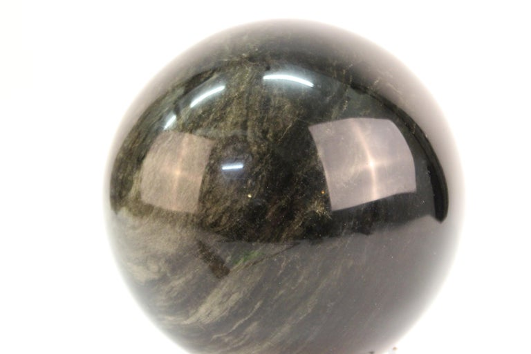 Mineral Specimen Sphere on Art Deco Stand In Good Condition For Sale In New York, NY