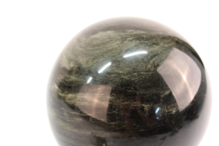 Mineral Specimen Sphere on Art Deco Stand For Sale 2