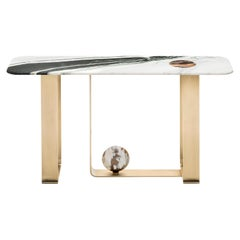 Minerva Console Table in Marble with Corno Italiano Accents, Mod. 7005BRSVS