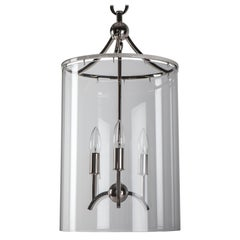 Minerva Lantern in Nickel with Clear Blown Glass Cylinder by Remains Lighting