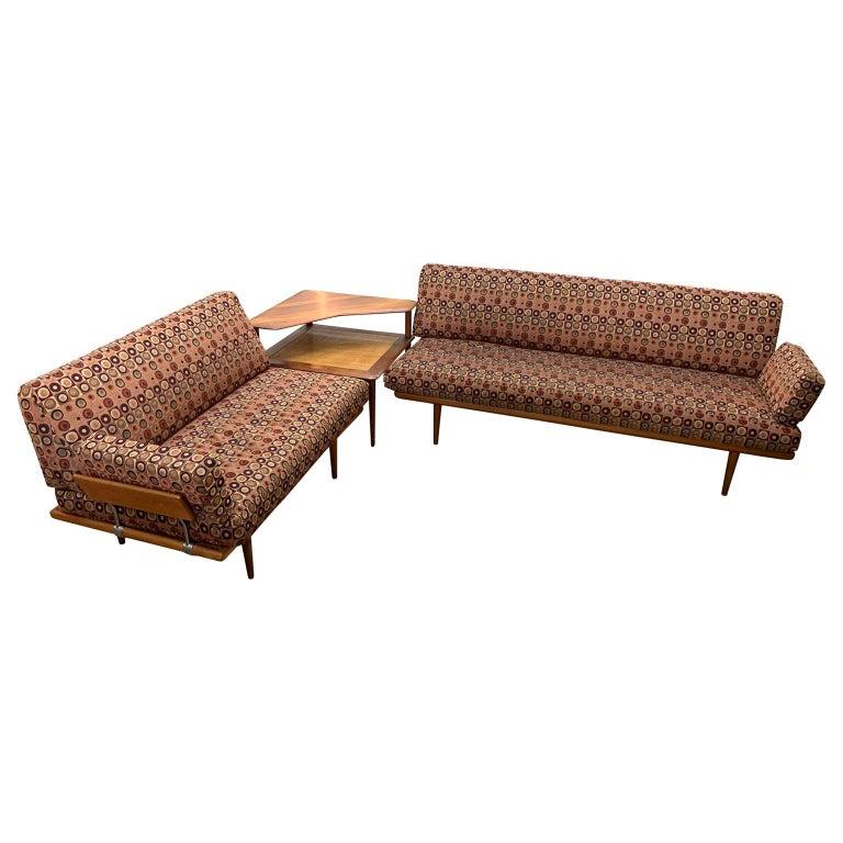 "Pair Of Danish ""Minerva"" Sofas And Table By Peter Hvidt & Orla Mølgaard Nielsen For Sale"