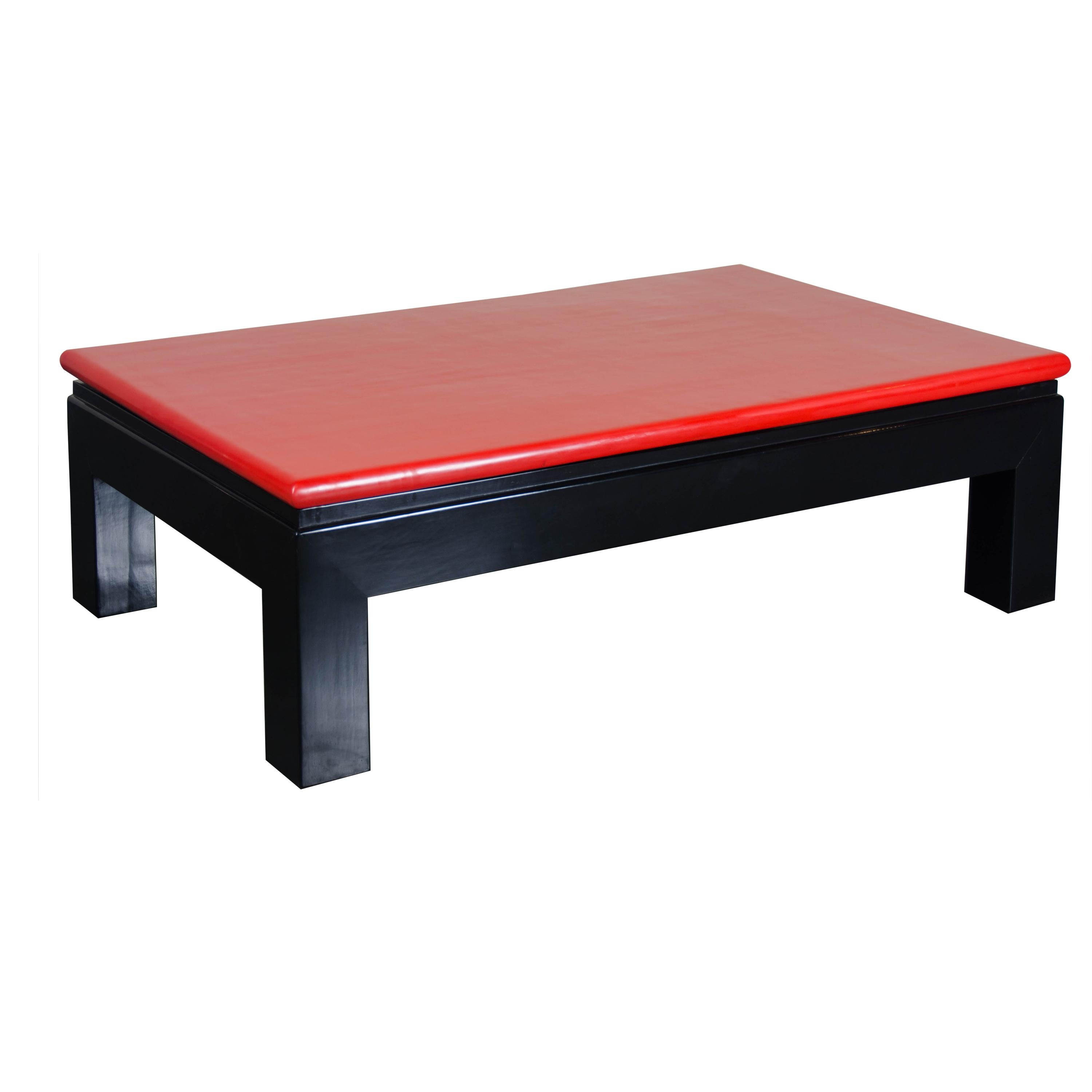Ming Coffee Table, Red Lacquer by Robert Kuo, Handmade, Limited Edition