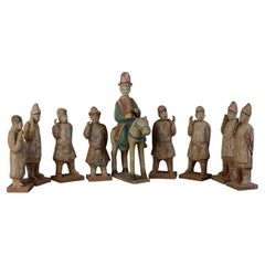 Ming Dynasty, A Set of Chinese Pottery Horse and Court Men