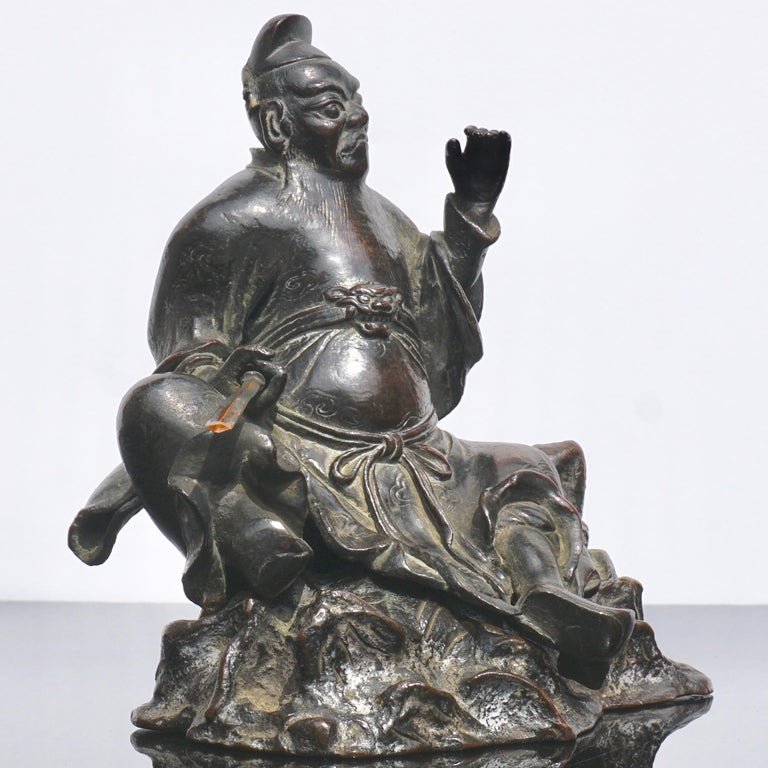 Chinese Ming Dynasty Bronze Figure of Guandi or Guan Yu For Sale