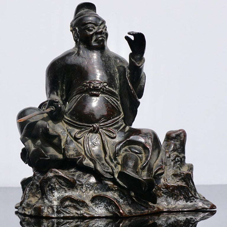 Ming Dynasty Bronze Figure of Guandi or Guan Yu In Good Condition For Sale In Dallas, TX
