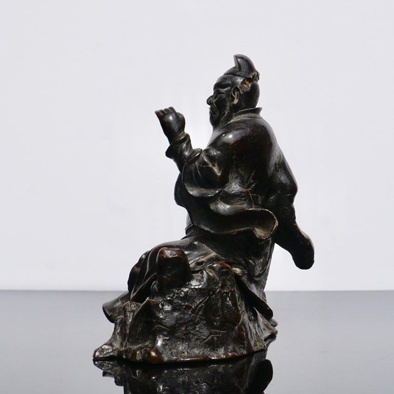 Ming Dynasty Bronze Figure of Guandi or Guan Yu For Sale 1