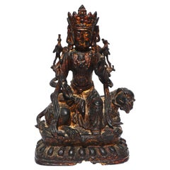 Ming Dynasty Bronze Guanyin Seated On A Mythical Lion Beast