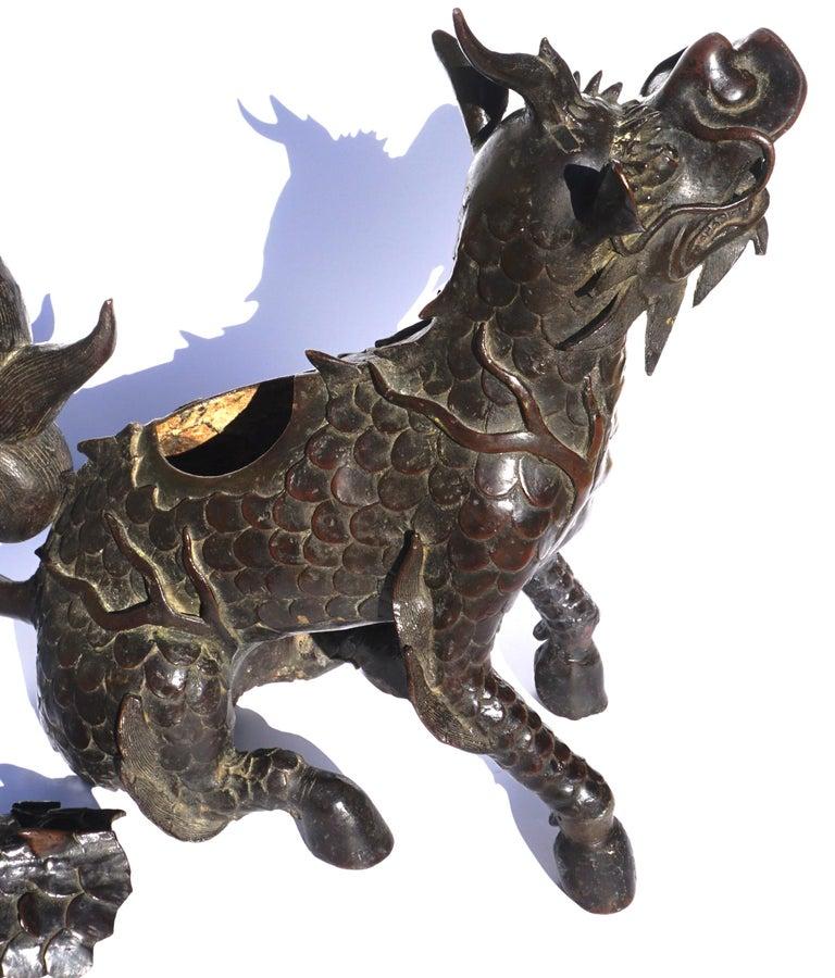 Ming Dynasty Bronze Mythical Xiezhi Censer, circa 1368-1644 For Sale 3