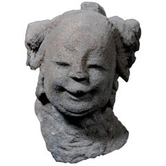 Ming Dynasty Celestial Deity Head Carved in Stone - China '1368-1644 AD'