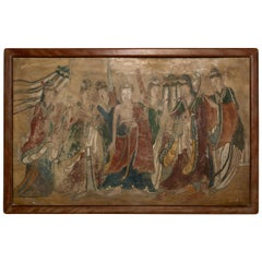 Ming Dynasty Chinese Mural Painting of Buddha Flanked by Attendants