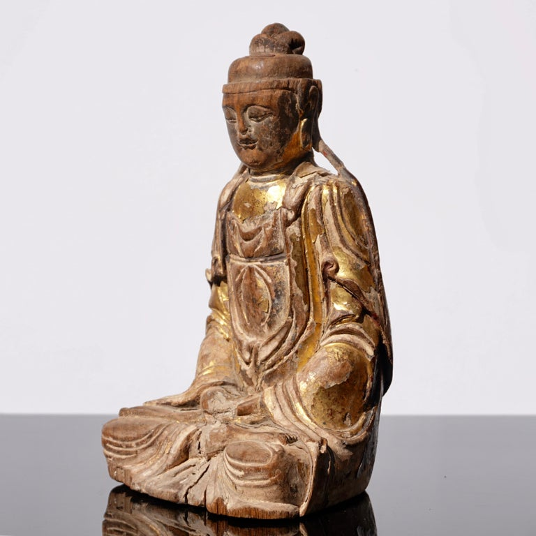 Chinese Ming Dynasty Gilt Carved Buddha Statue