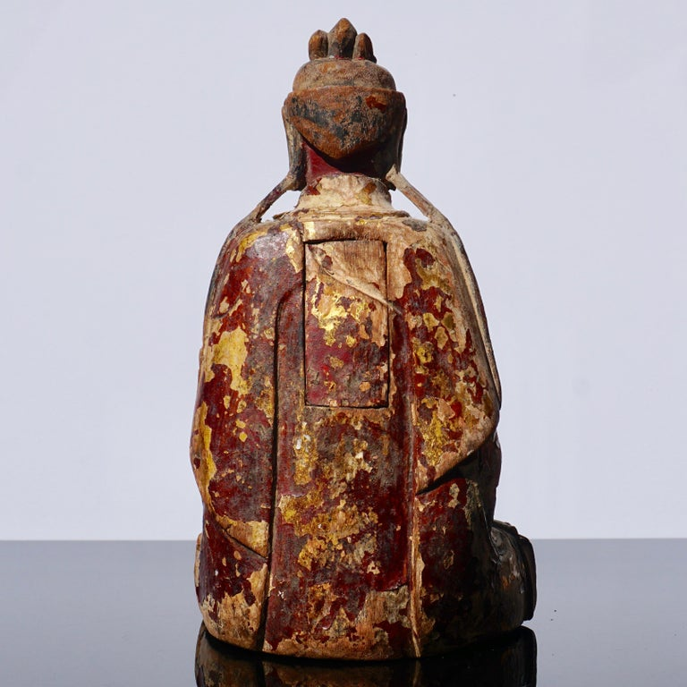 18th Century and Earlier Ming Dynasty Gilt Carved Buddha Statue