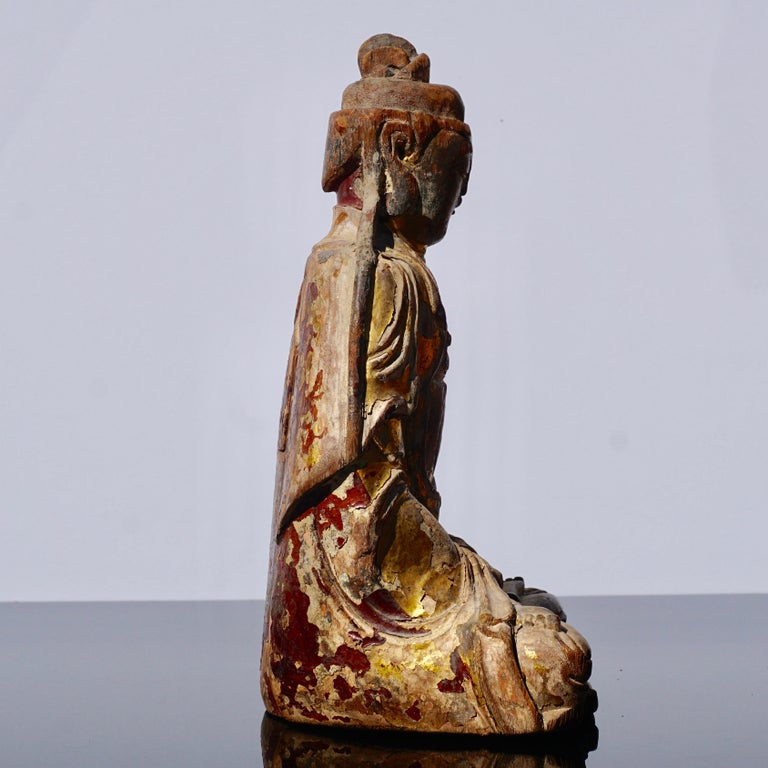 Wood Ming Dynasty Gilt Carved Buddha Statue