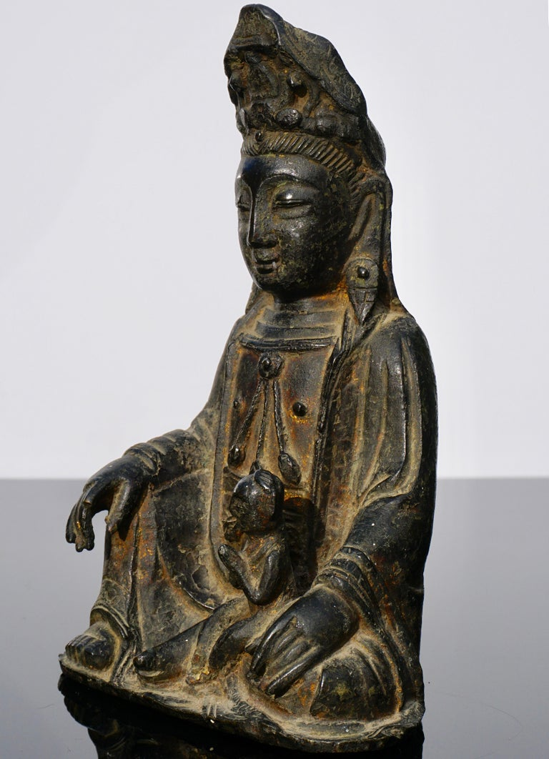 Chinese Ming Dynasty Gilt Lacquered Bronze Songzi Guanyin For Sale