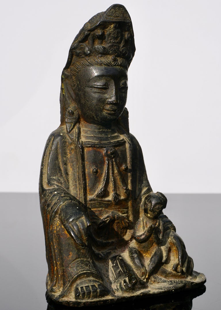 Cast Ming Dynasty Gilt Lacquered Bronze Songzi Guanyin For Sale