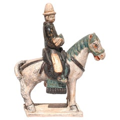 Ming Dynasty Glazed Pottery Horse And Rider