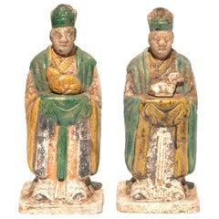 Ming Dynasty Glazed Pottery Tomb Attendants with Zodiac Animals